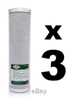3 x CARBON BLOCK FILTERS FOR REVERSE OSMOSIS UNITS, 10, RO, WATER FILTER FCCBL
