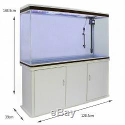 300L Aquarium Fish Tank & Cabinet with Pump Heater Filter & LED White