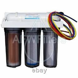 4-Stage RO/DI System Reef Aquarium Filter with 100 GPD Membrane and Clear Hou